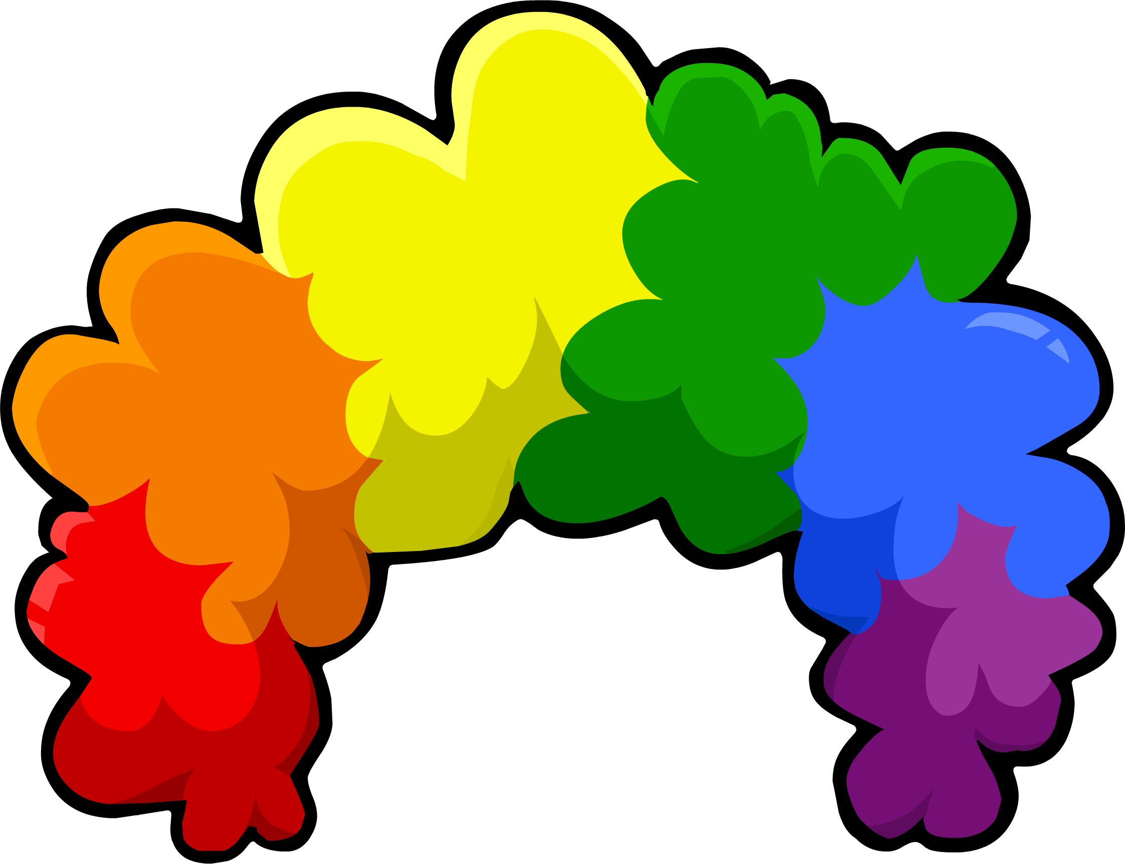 Clown hair png. Rainbow fro club penguin