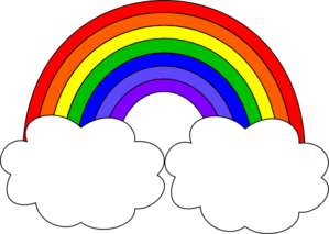 Rainbow clip cloud clipart. With clouds art at