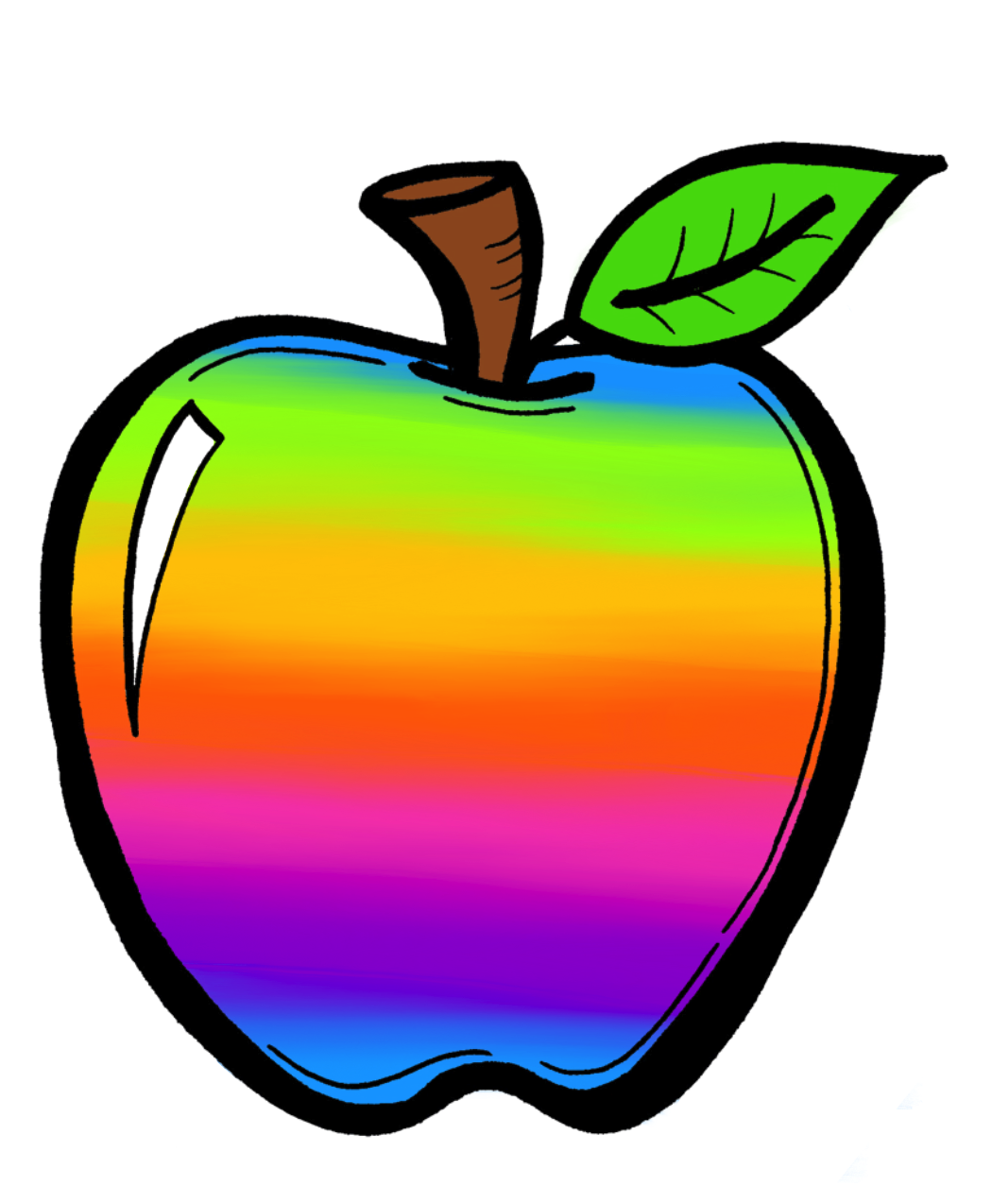 Rainbow clip crayon. Drawing art apple cliparts