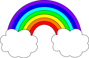Rainbow clipart. With clouds clip art