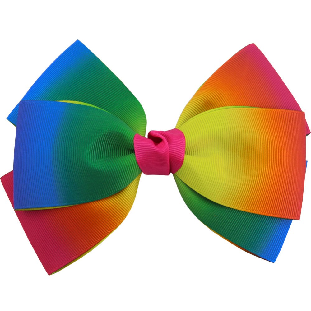Rainbow clipart bow. Kids girls hair clips