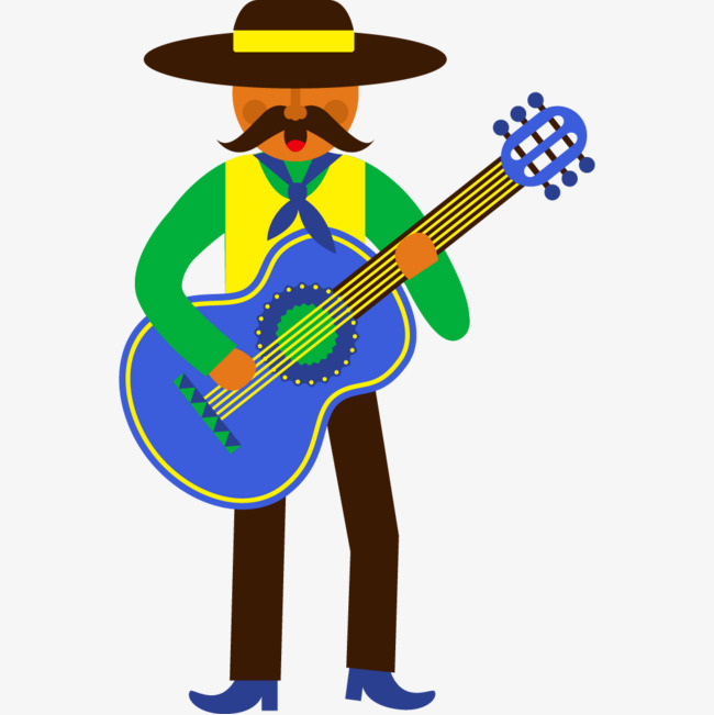 Rainbow clipart guitar. Cartoon playing characters musical