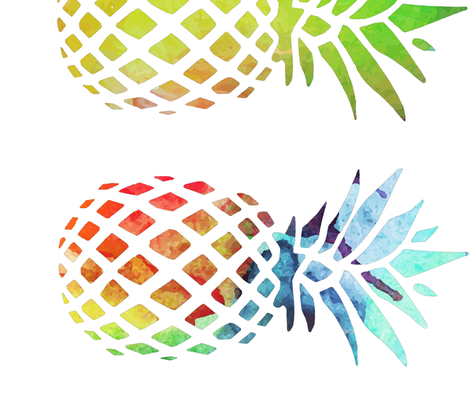 Rainbow clipart pineapple. Pillow fabric sisterswhatfabric spoonflower