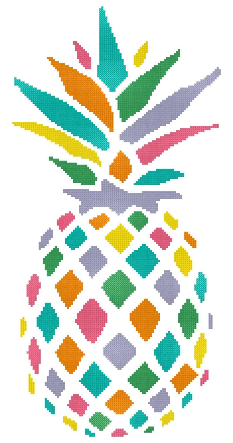 Rainbow clipart pineapple. A counted cross stitch