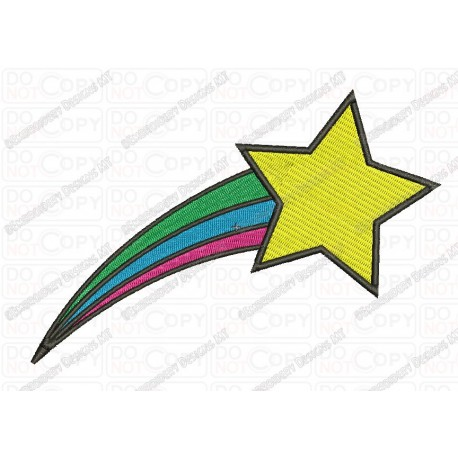 Rainbow clipart shooting star. With trail embroidery design