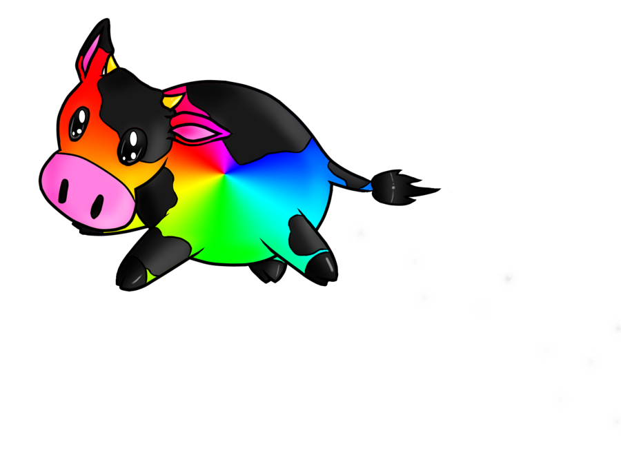 Rainbow llama png. Cow by terrabird on