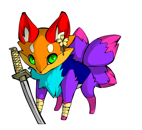Rainbow llama png. Fox w sword by