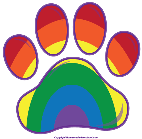 Rainbow paw png. Free prints clipart click