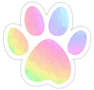 Rainbow paw png. Crystal pastel dog sticker