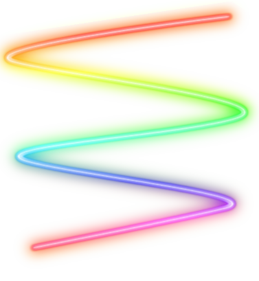 Transparent neon spiral. Rainbow swirl png by