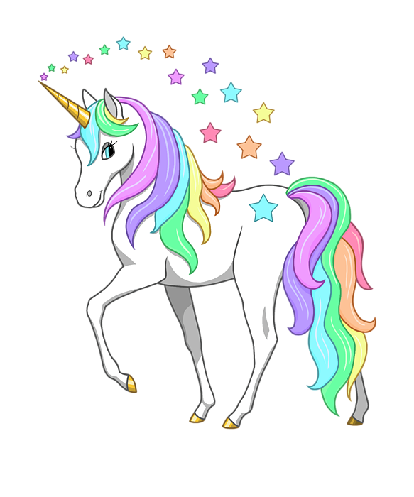 Rainbow unicorn png. Clouds and stars t