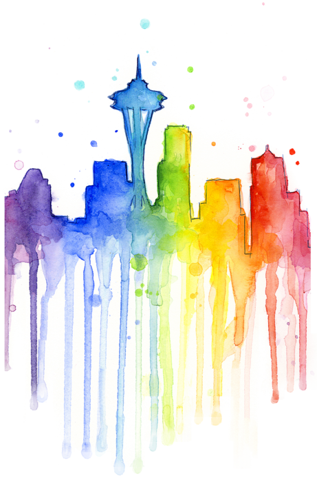 Rainbow watercolor png. Seattle t shirt for