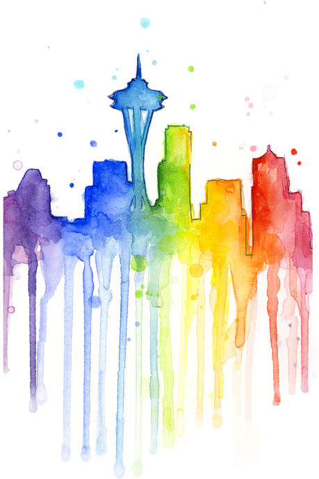 Rainbow watercolor png. Download hd seattle t
