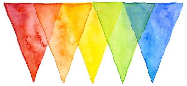 Rainbow watercolor png. Geometric pattern triangles beach