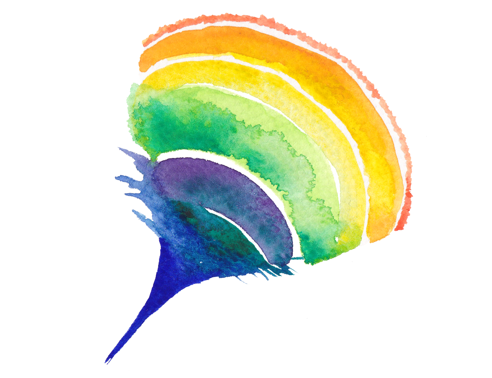 Rainbow watercolor png. Creative circle painting transprent