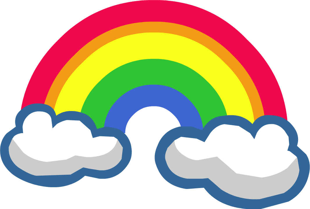 Rainbow with clouds png. Images colors of the