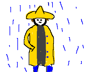 The man with yellow. Raincoat drawing clipart royalty free
