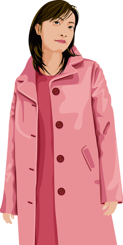 Raincoat drawing overcoat. Cartoon hand painted girl