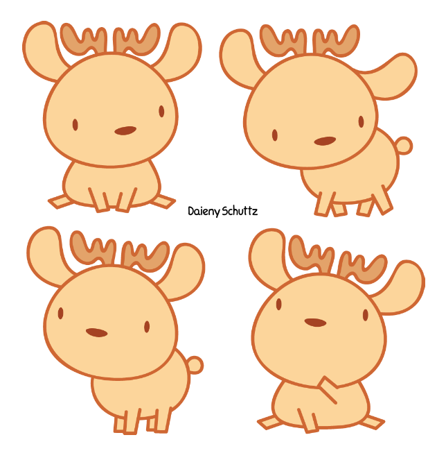 Raindeer drawing kawaii. Little reindeer by daieny