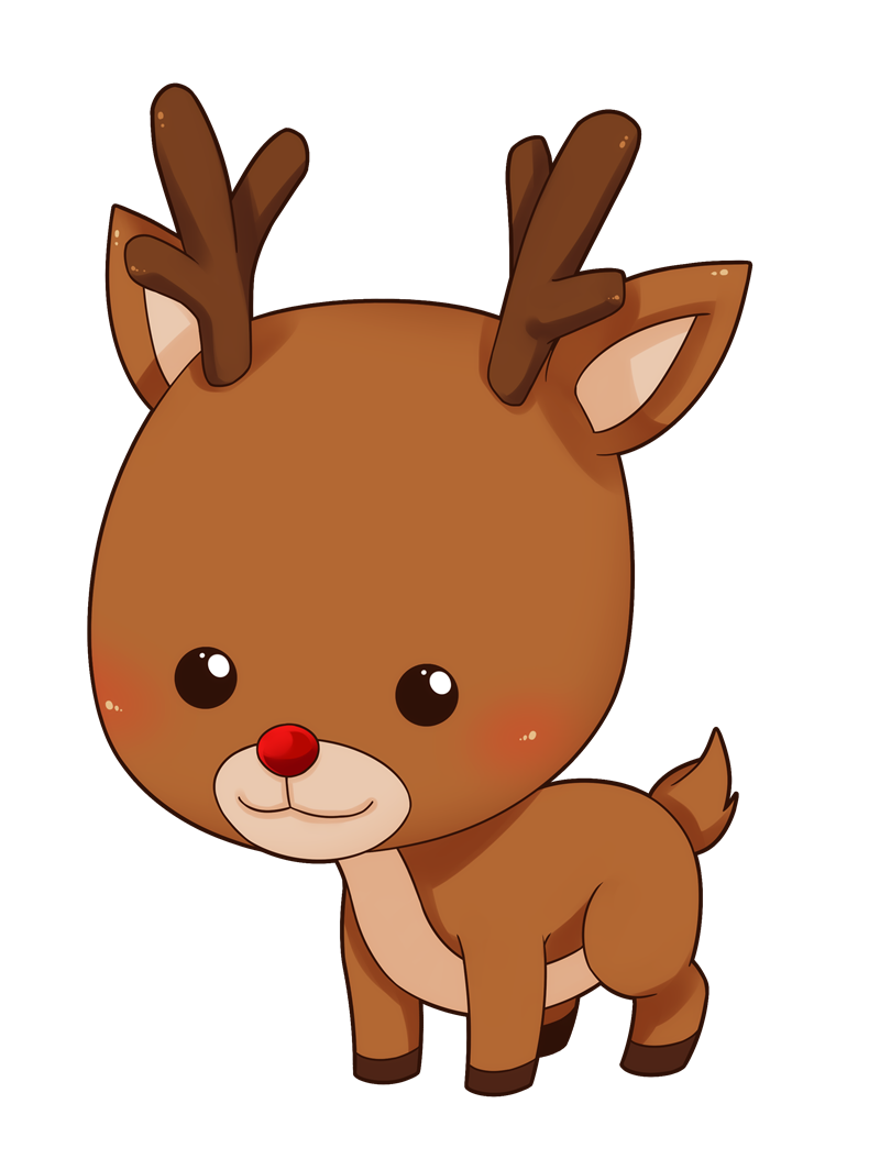 Raindeer drawing kawaii. Collection of cute