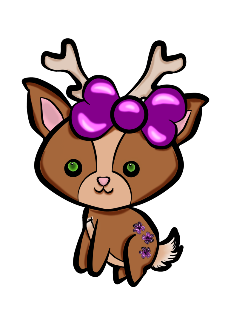 Raindeer drawing kawaii. Girl reindeer colored by