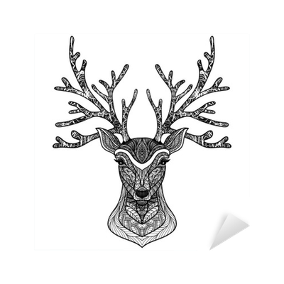 Raindeer drawing portrait. Decorative deer sticker pixers