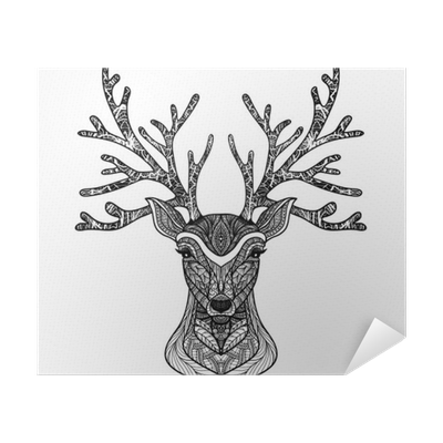 Raindeer drawing portrait. Decorative deer poster pixers