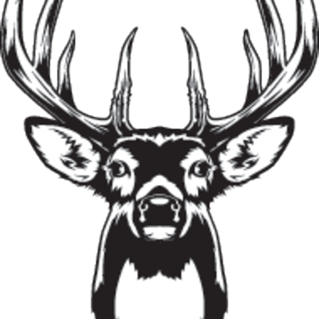 Raindeer drawing portrait. Black deer production on