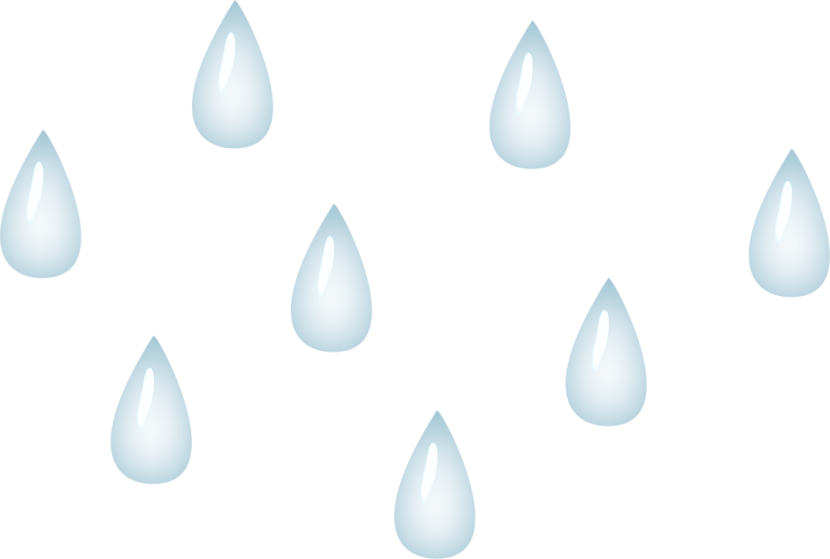 Transparent raindrops background. Collection of clipart