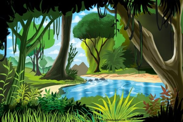 Rainforest clipart scenery. Jungle scene drawing at