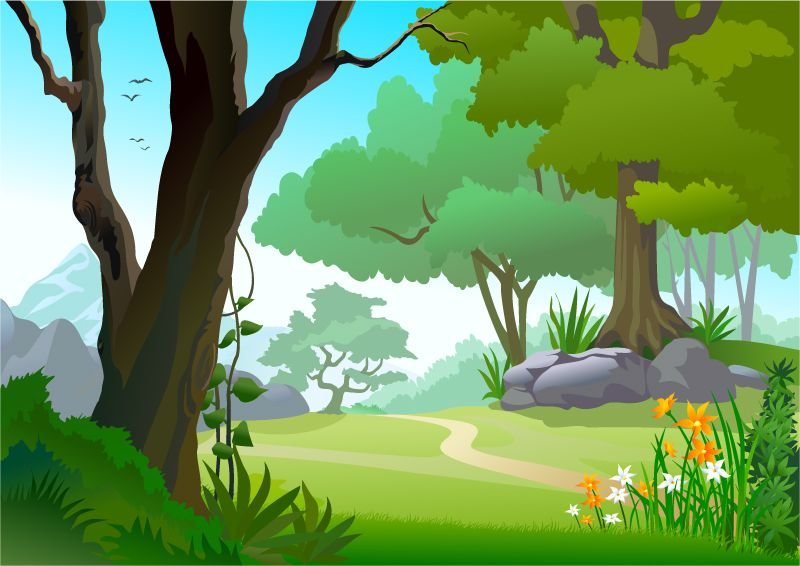 Rainforest clipart scenery. The forest path vector