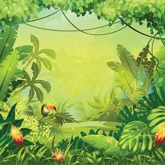 Rainforest clipart scenery. Jungle background kid clip