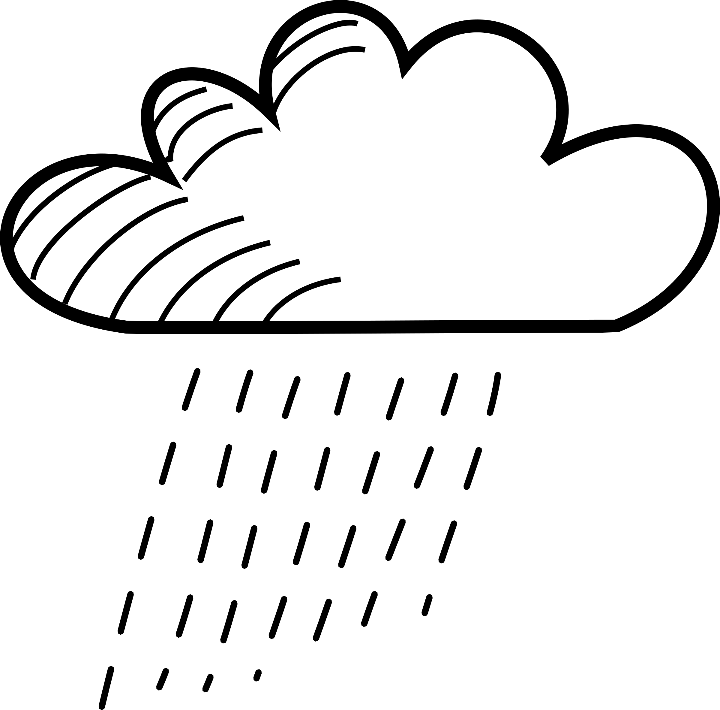 Vector sketching cloud. Rainy stick figure icons
