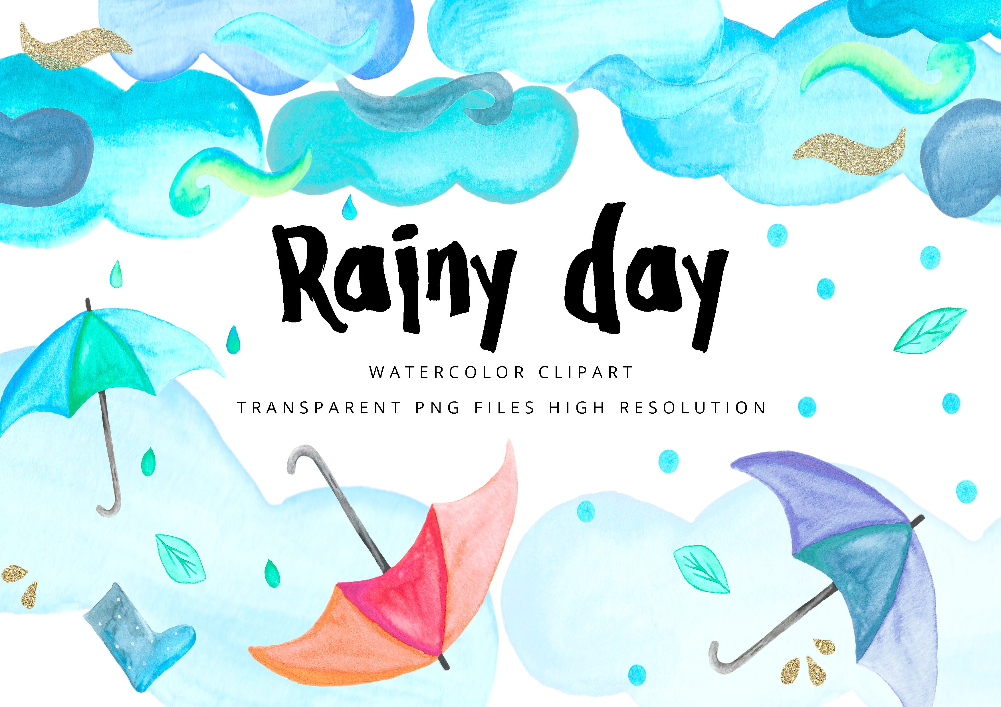 Raining clipart rainy day. Watercolor illustrations creative market