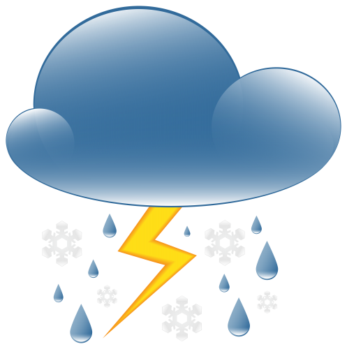Raining clipart weather icon. Thunder rain and snow