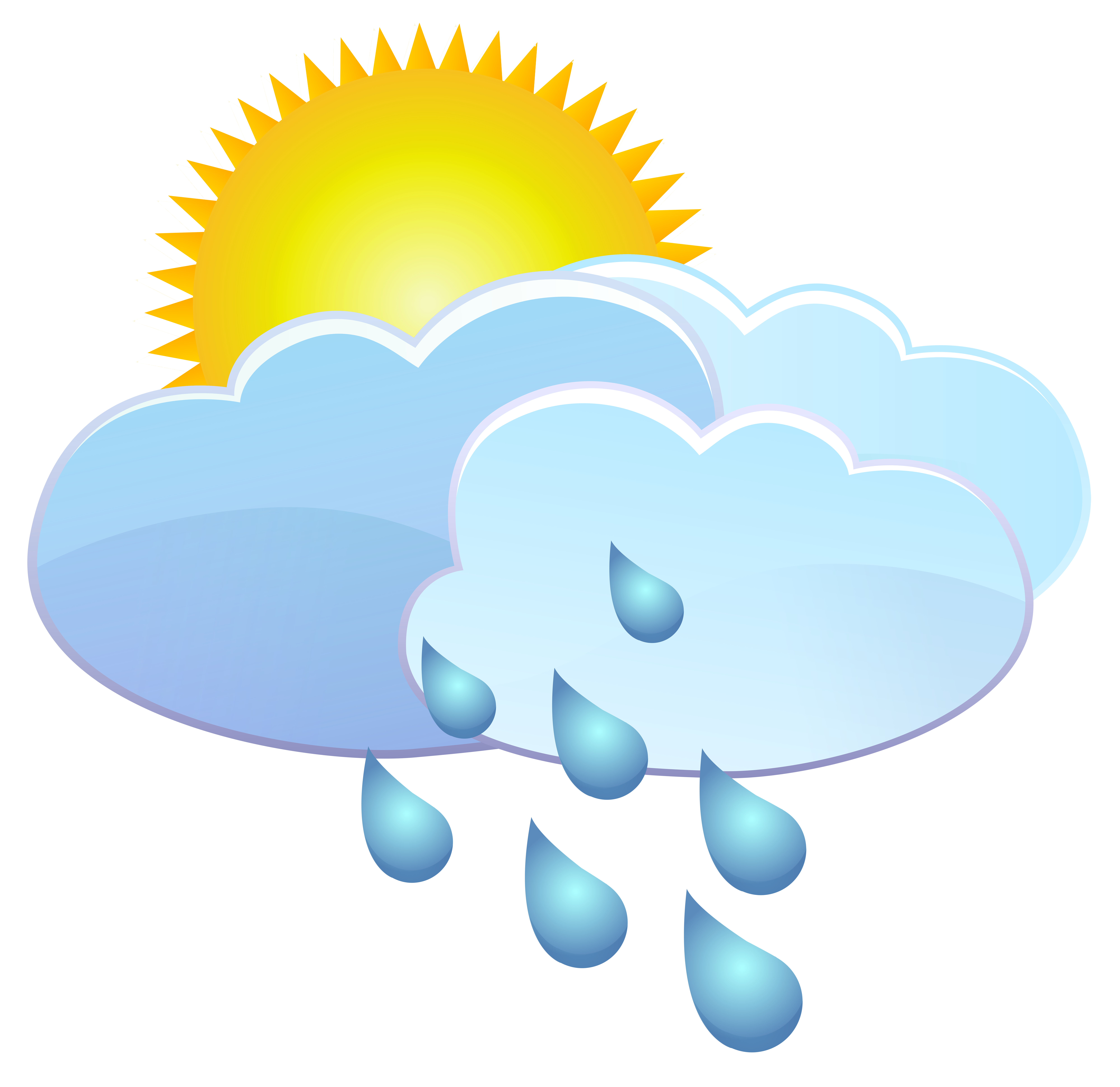 Raining clipart weather icon. Clouds sun and rain