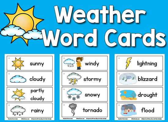 Rainy clipart weather word. Picture cards pinterest kindergarten
