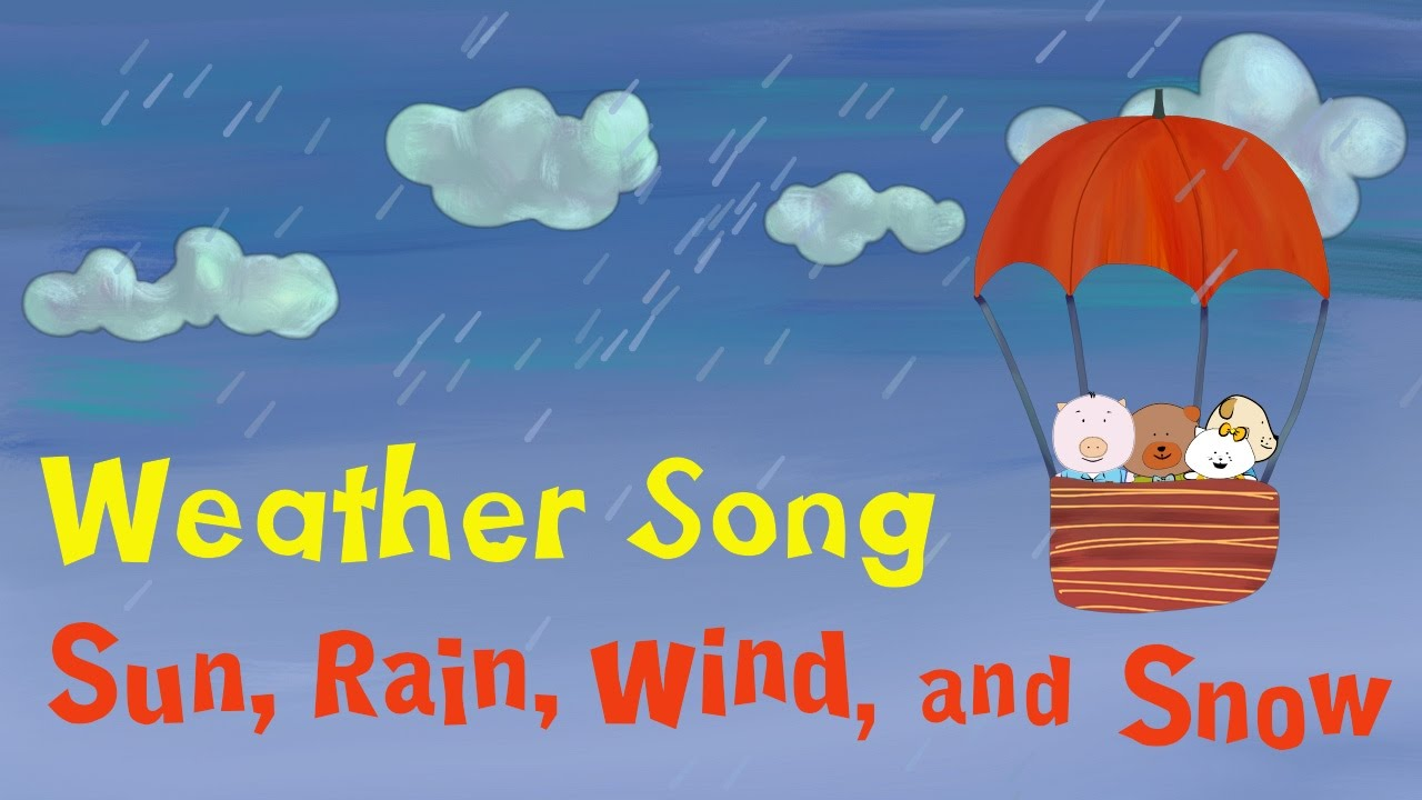 Rainy clipart weather word. Song for kids sun