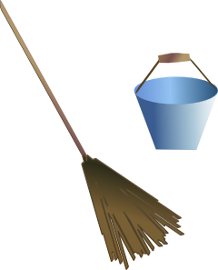Rake clipart broom. Bucket clip art at