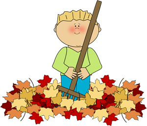 Rake clipart fallen leave. Fall leaves pencil and