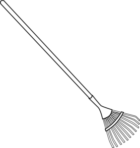 Rake drawing. Bw clip art at