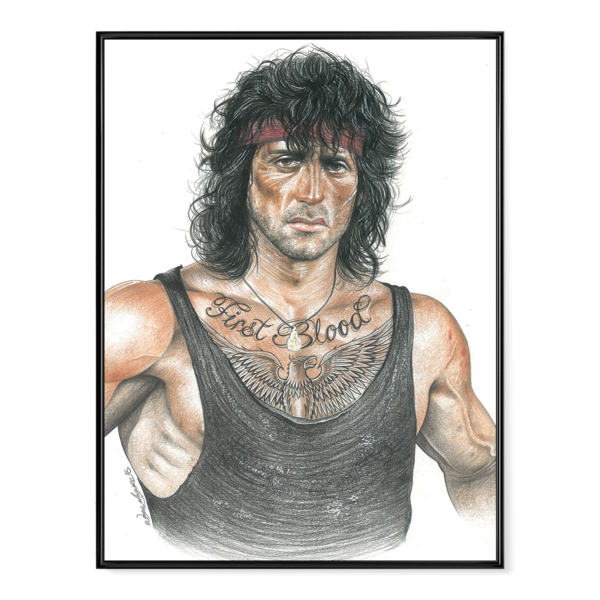 Rambo drawing. Inked poster oaf nation