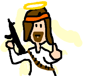 Rambo drawing. Jesus giving the finger