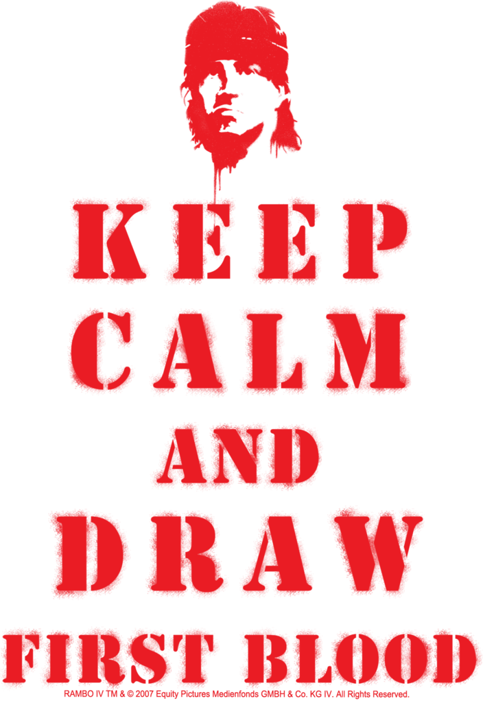 Rambo drawing first blood. Keep calm sticker gold