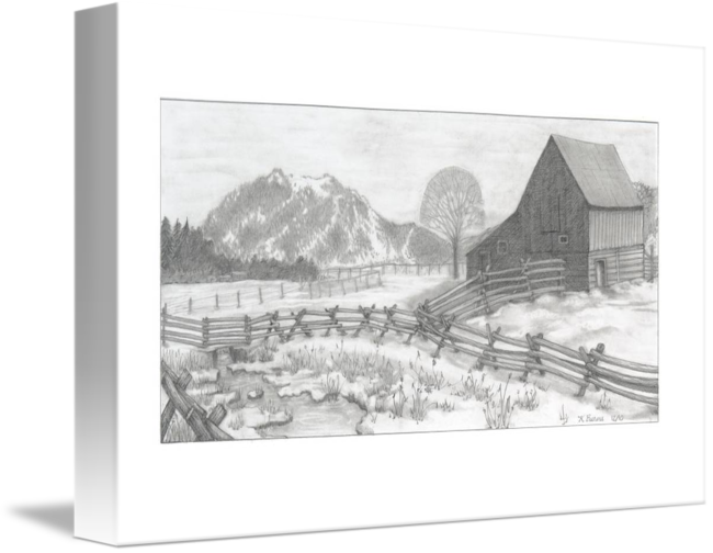 Ranch drawing landscape. In winter by kathy