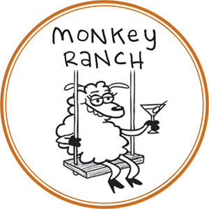 Ranch drawing rural farm. Monkey home