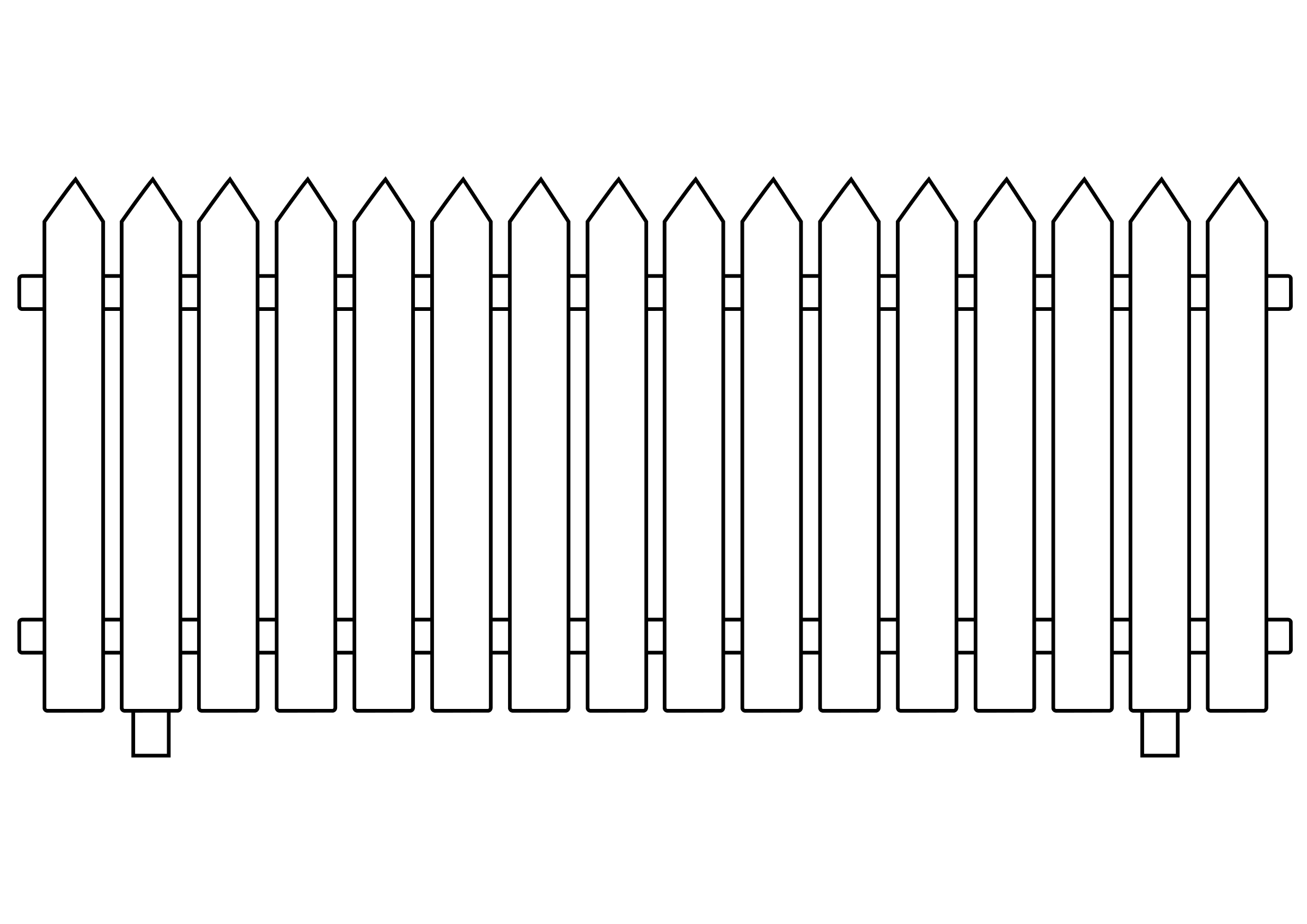 Ranch drawing wooden fence. Collection of picket