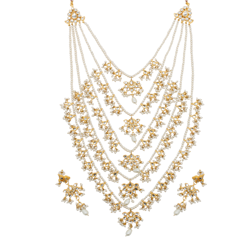 Rani haar png jewellers. Multi layered necklace set