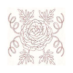 Ranunculus drawing flower. Redwork machine embroidery designs