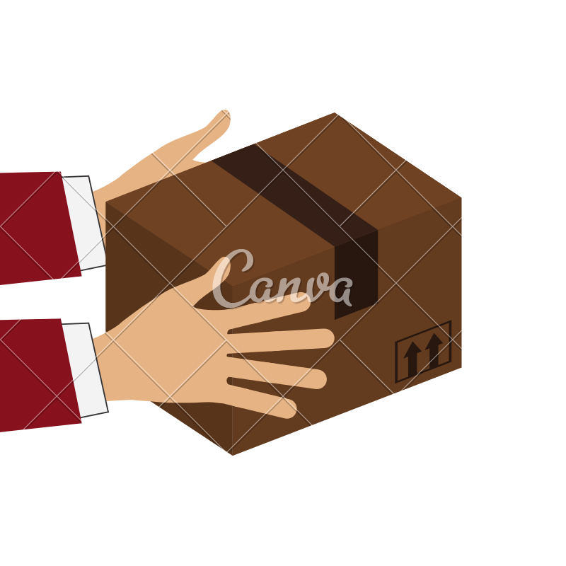 Rapper vector hand holding. Hands cardboard box icon